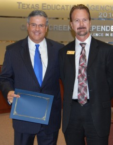 League City Mayor Tim Paulissen presents proclamation to Clear Creek ISD 