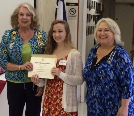 DAR Regent Flora Byars Calaway, left, and Scholarship Chairman Tanya McGlothlin, right,  congratulate scholarship winner Faith Marschke.